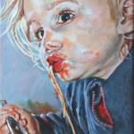 Ida isst Spaghetti, Öl auf Leinwand