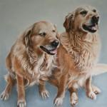 Nala und Kiara, Öl auf Künstlerkarton