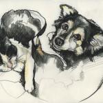 Zwei Freunde, Mischtechnik auf Zeichenpapier